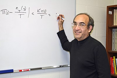 Math Prof. James Propp in his office