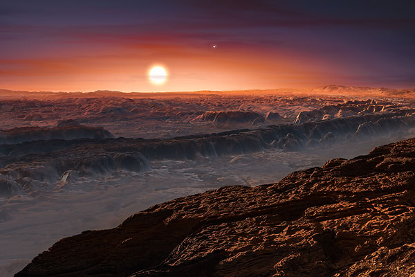 This artist's impression depicts the red dwarf star Proxima Centauri as seen from its companion planet, called Proxima b.