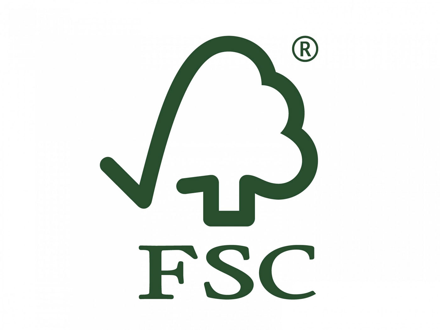 Purchasing-Cleaning and Janitorial Supplies-FSC: Forest Stewardship Council's green logo. Features an artwork of what appears to be a check-mark merged with a tree.