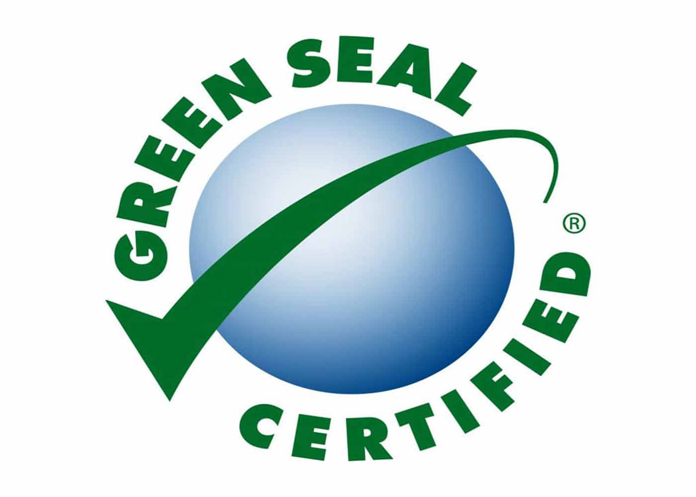 Purchasing-Cleaning and Janitorial Supplies-Green Seal: Green Seal's logo. Features a blue spherical object that relates to Planet Earth with a green check-mark surrounding it.