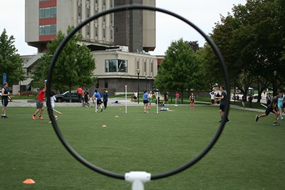 The club quidditch team practices on East Campus