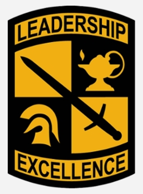 ROTC Patch stating Leadership and Excellence with a sword, lamp of knowledge and warrior helmet