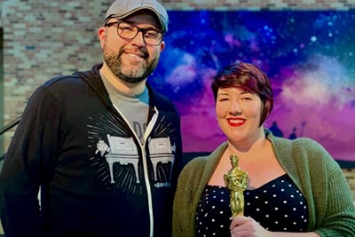 Toy Story 4 director Josh Cooley shares an Oscar moment with Rachael Bigelow '11, who helped shape the film's musical palette.