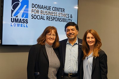Donahue Center co-directors Elise Magnant and Erica Steckler with Raj Sisodia