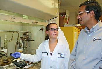 Methuen High School student Michaela Cullum-Doyle working in the lab with her adviser, plastics engineering Assoc. Prof. Ramaswamy Nagarajan.