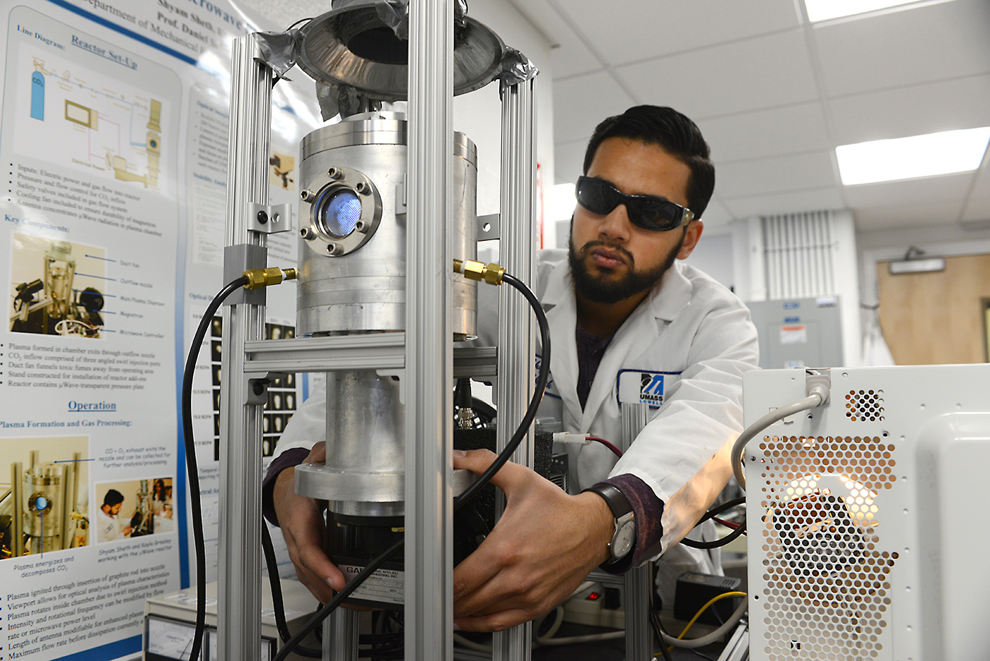 Student conducts experiment in Re-Engineered Energy Lab. The RE-ENGINEERED ENERGY LAB is researching how to use solar energy and electricity to develop new types of sustainable fuels and chemicals.