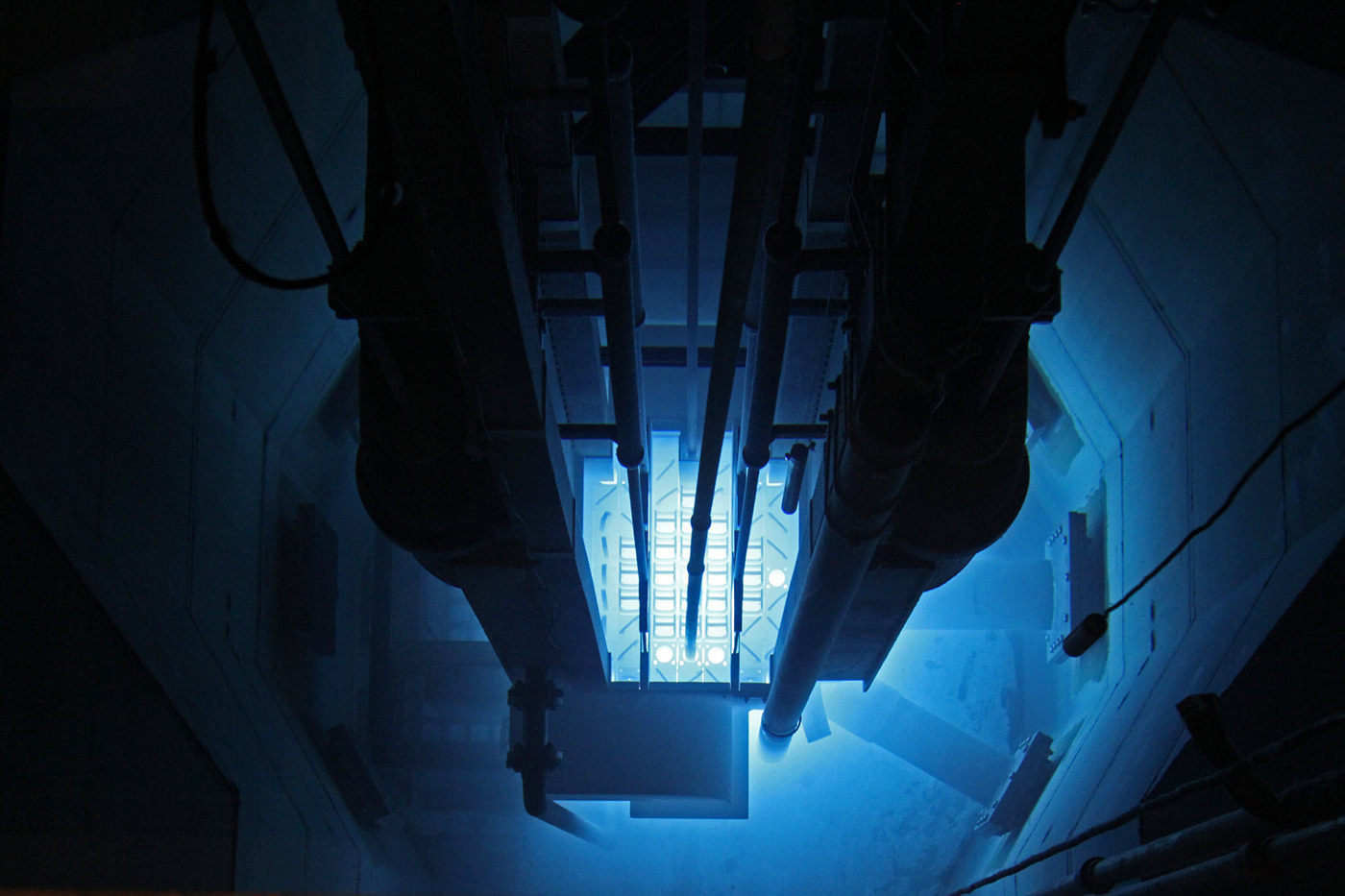 View from above of the Nuclear Reactor core. The Radiological Sciences Program at the University of Massachusetts Lowell offers a Bachelor of Science degree in Physics (Radiological Health Physics option), a Master of Science degree in Radiological Sciences and Protection, and a Doctor of Philosophy degree in Physics (Radiological Sciences option).