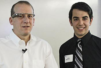 Android co-founder and alumnus Rich Miner '86, '89, '97, left, with student Andrew Ambrosino.