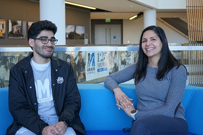 River Hawk Rising student Ricardo Candanedo and his mentor, Elsie Otero, associate director of Multicultural Affairs at UMass Lowell