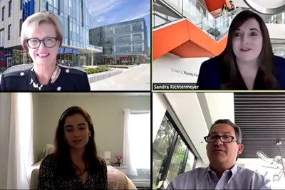 Chancellor Jacquie Moloney, Dean Sandra Richtermeyer, Rob Manning and Kristen Reardon in the Zoom chat