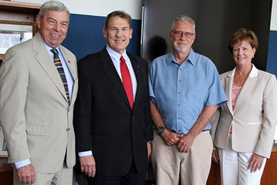 History Prof. Robert Forrant (second from right) is named 2016 University Professor by Special Advisor to the Chancellor Donald Pierson, Provost Michael Vayda and Chancellor Jacquie Moloney.