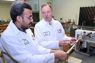 Prof. David Ryan with graduate student in the lab