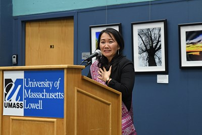 Assoc. Prof. of Education Phitsamay Uy gave an emotional speech at the official launch of the Southeast Asian Digital Archive at UMass Lowell