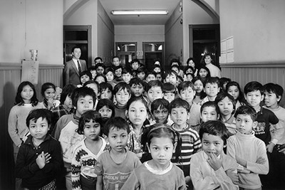 Cambodian refugee children at the former Sacred Heart school building on Moore Street in Lowell.