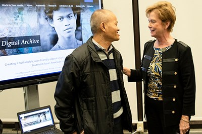 UMass Lowell Chancellor Jacquie Moloney spoke with Tim Thou, co-founder of the Angkor Dance Troupe, at the launch of the Southeast Asian Digital Archive