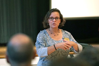 Lecturer Lori Weeden speaks at a Climate Change Teach-In