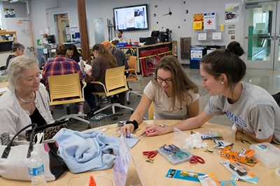 Students participate in a repair cafe on North Campus