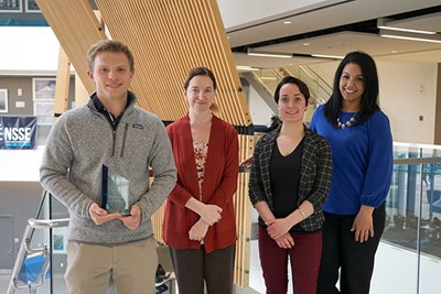 Student Employee of the Year Nathan Klosowski with Candice Garabedian, Lauren Michaels and Karina Cruz