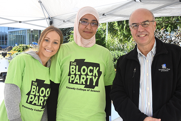 New Kennedy College of Sciences Dean Noureddine Melikechi gets to know students during the school's annual Block Party at Cumnock Hall.