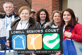 Seniors Count interview teams included senior volunteers and UMass Lowell students.