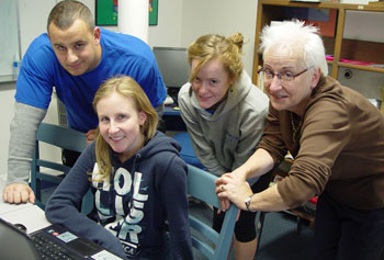 Judith Davidson, right, meets weekly with the student research team that includes Rob Tanso, Lindsay Tucker and Maryann Ford.