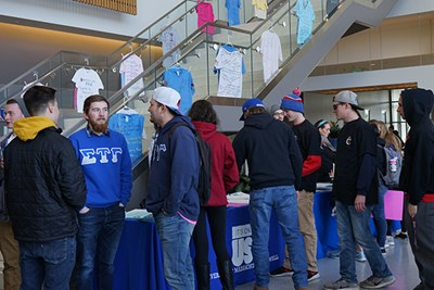 Fraternities at UML gather for the Take Back the Night March 2018