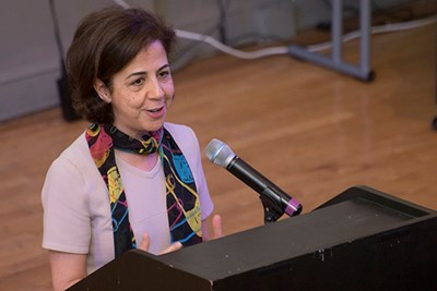Shahra Razavi, head of research and data at the U.N. Commission on the Status of Women, speaks at the international Carework Summit at UMass Lowell