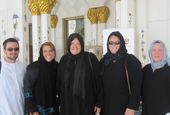 Alum Shannon Smith, second from left, has enjoyed teaching and living in the UAE where she explores the new culture with fellow teachers.