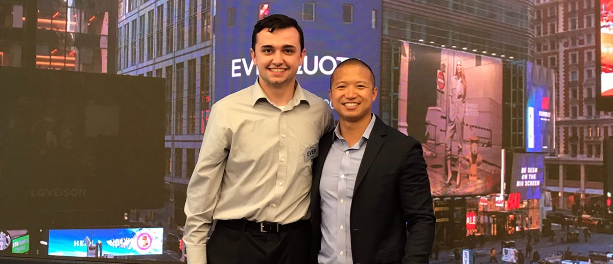 Shaymus Dunn pictured with master of science in accounting student, Nam Dinh, who both work at EverQuote, visit NASDAQ as company files IPO