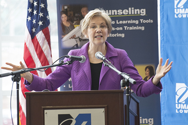 U.S. Sen. Elizabeth Warren welcomes small business owners to her third annual matchmaker event at the Tsongas Center.