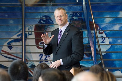 Gov. Charlie Baker heads to the podium