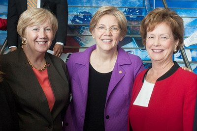 Eileen Donoghue, Elizabeth Warren and Jacquie Moloney together at event