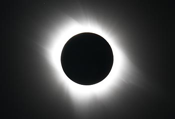 The Sun's outer atmosphere, called the corona, is a plasma (highly ionized gas) that is easily seen with the naked eye during a total eclipse. This view of the corona's delicate structure was photographed by Edwin L. Aguirre during the July 11, 2010, total solar eclipse, which he observed from the South Pacific, on Tatakoto Atoll in French Polynesia's Tuamotu Archipelago.