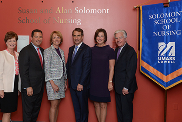 Shown at the celebration for the Solomont School of Nursing are, from left, Chancellor Jacquie Moloney, Robert Manning, Donna Manning, Alan Solomont, Susan Solomont and UMass President Marty Meehan.