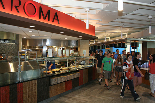 Prospective students tour the South Campus Dining Commons, which has been recognized as the university's first '3 Star Certified Green Restaurant' by the Green Restaurant Association.