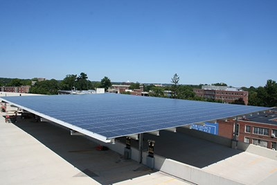 The new solar array on the South Campus parking garage roof
