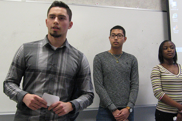 Honors College students practice a group presentation in a public speaking class.