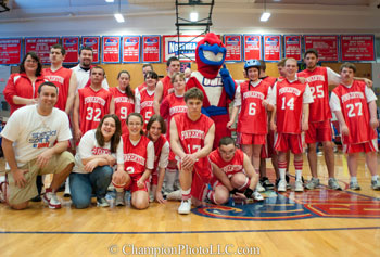 Student leader Todd Borchers, front left, will bring his Pinkerton Astros to Costello Gym for Special Spirit 2012.
