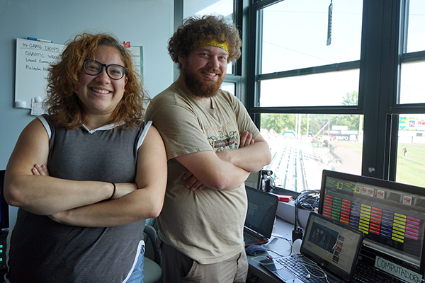 Seniors Denisse Torres and Anthony Gervase are working as video production interns for the Lowell Spinners this summer at LeLacheur Park.