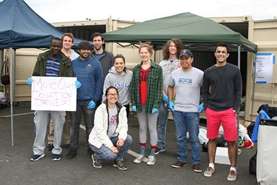 Student volunteers pose at the donation sorting site