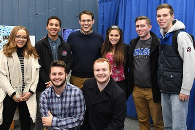 Kornacki poses after his talk with UMass Lowell student Democrats and Republicans