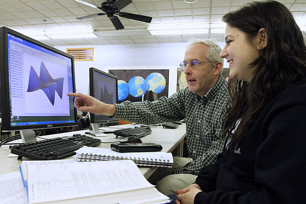Prof. Stephen Pennell and former student Betty Makovoz use MATLAB software to draw curved surfaces. Makovoz received a bachelor's degree in math in 2014 and a master's degree in education this year from UMass Lowell.