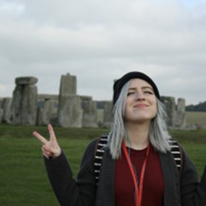 UMass Lowell student at Stonehenge in England