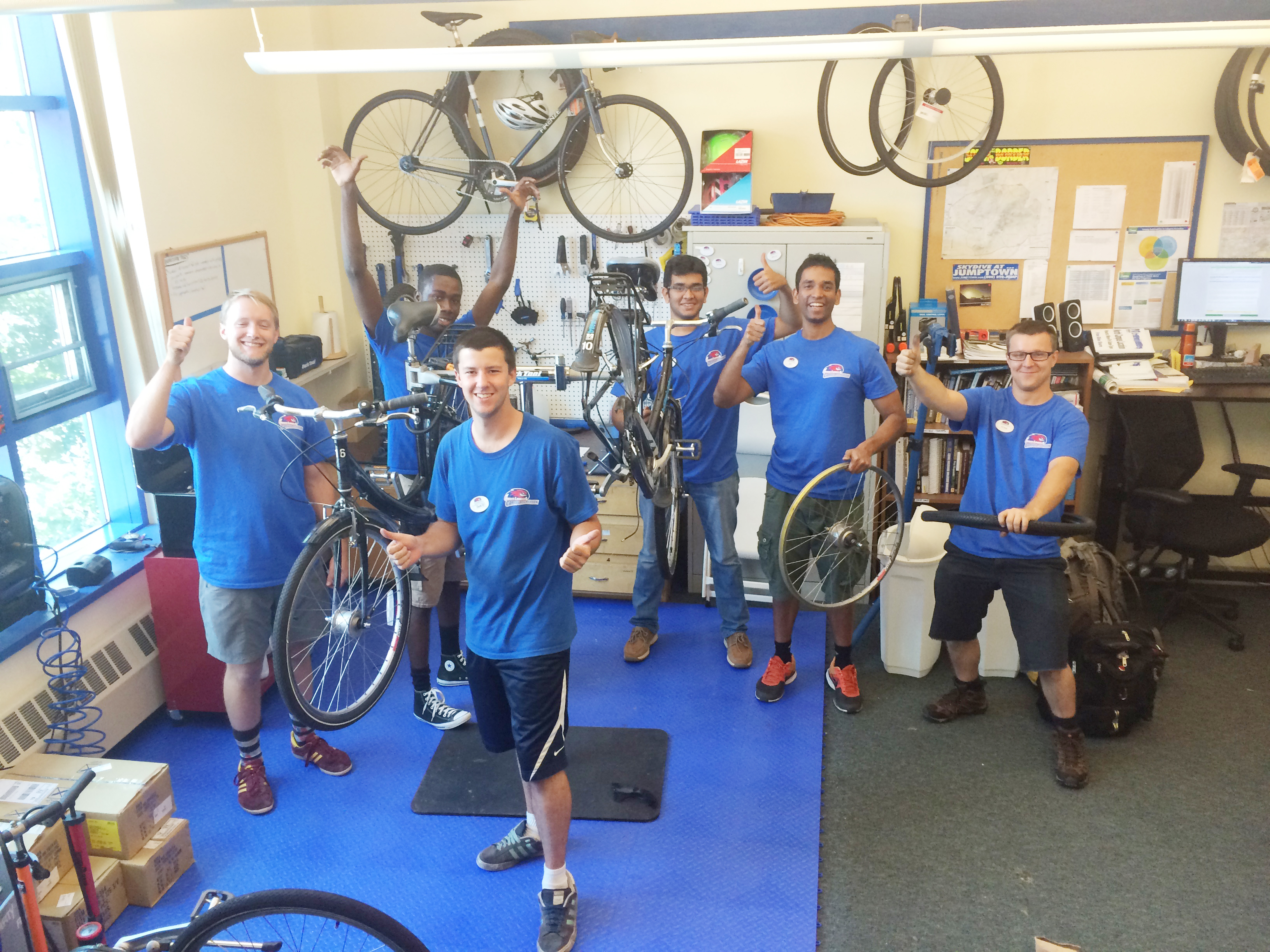 Students Working at UML Bicycle Shop