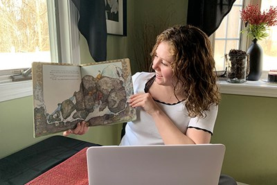 UML education major Abby O'Keefe is doing her student-teaching remotely