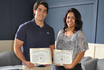 Graduate student Michael Dellogono and junior Karina Cruz are winners of the first Student Employee of the Year awards.