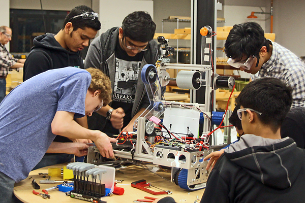 "Nearly three dozen middle- and high-school students spent six weeks at the university's MakerSpace to create a robot, which they named ""Scorpio."""