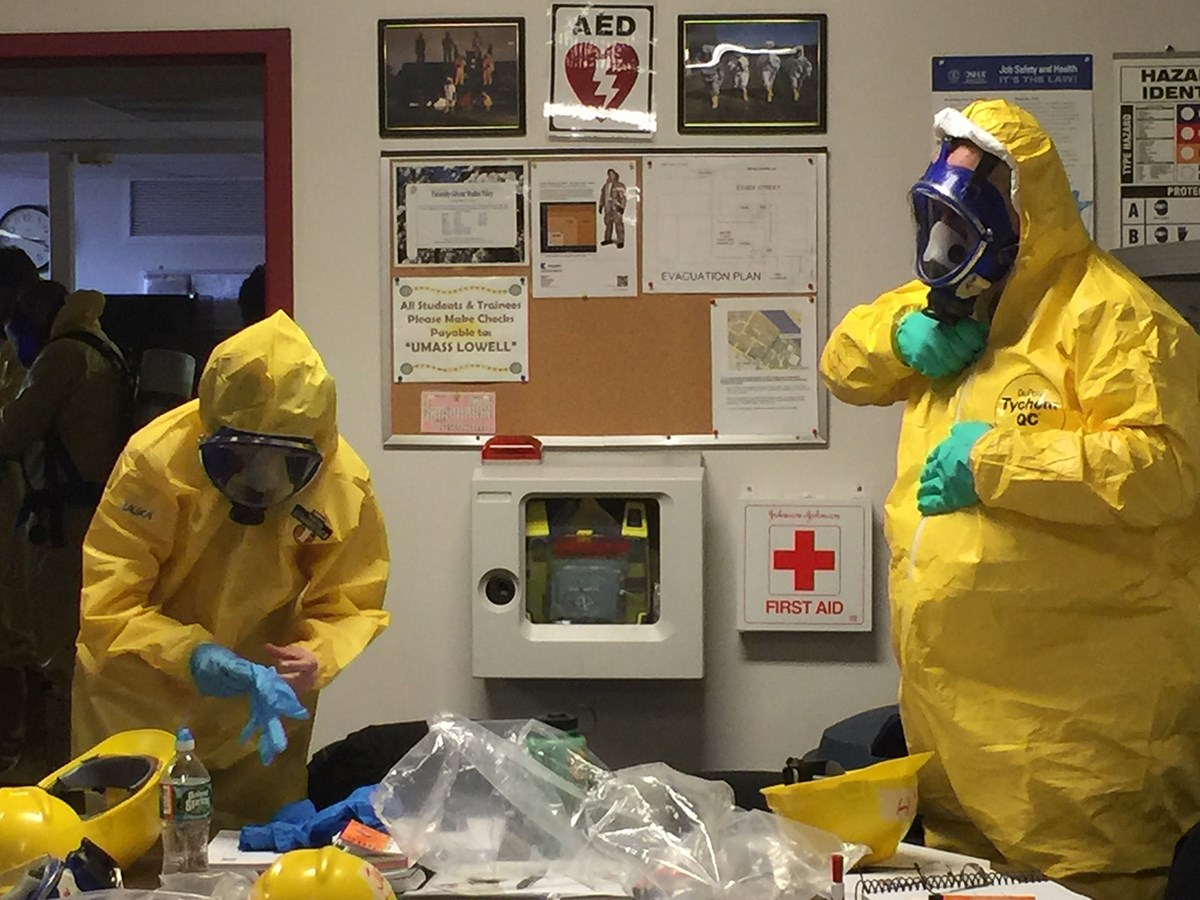 TNEC students suit up in level 'B' suits as a training exercise in the 40-Hour Hazardous Waste Health and Safety course.