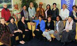 Summit attendees included, back row from left, Gila Svirsky, Leymah Gbowee, Linda Sou, Laura Taylor, Janet Johnson-Bryant, Martha Ines Romero, Rula Deeb, Monica McWilliams and Mona Makram-Ebeid. Front row from left, Barbara Hogan, Margaret Ward, Bronagh Hinds, Salwa Bayoumi, Seham Ikhlayel, Rosa Jimenez Ahumada and Robi Damelin.