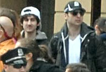 Boston Marathon bombing suspects Tamerlan Tsarnaev, right, and his brother, Dzhokhar, are shown together in this photo released by the FBI.